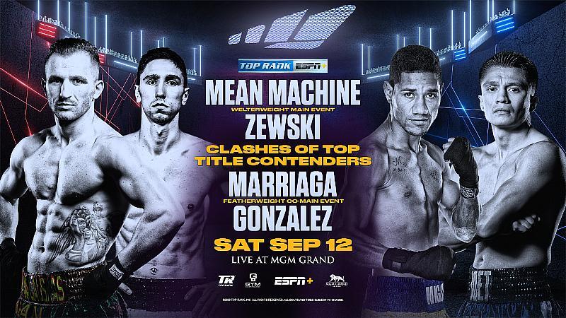 "Mean Machine-Zewski & Marriaga-Gonzalez Set for ESPN+ Card Live From MGM Grand ""Bubble"" September 12"