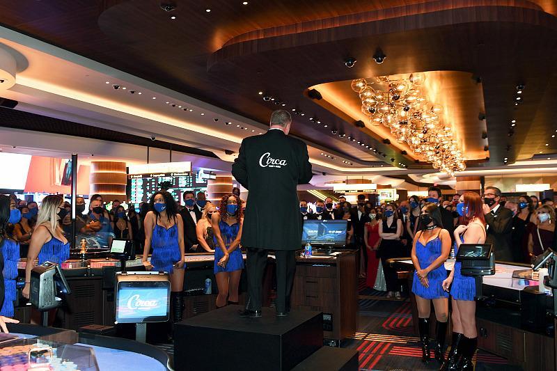 Derek Stevens addresses his staff at the opening of Circa Resort & Casino in Las Vegas