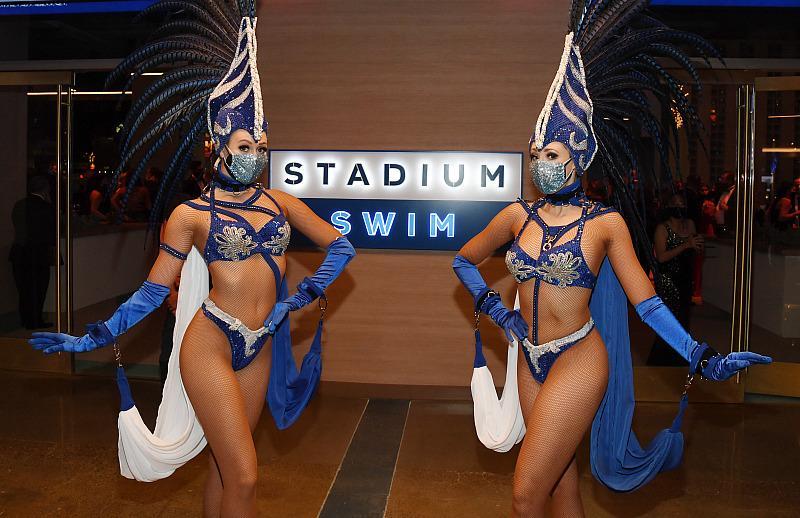 Models welcome guests to Stadium Swim at Circa Resort & Casino in Las Vegas