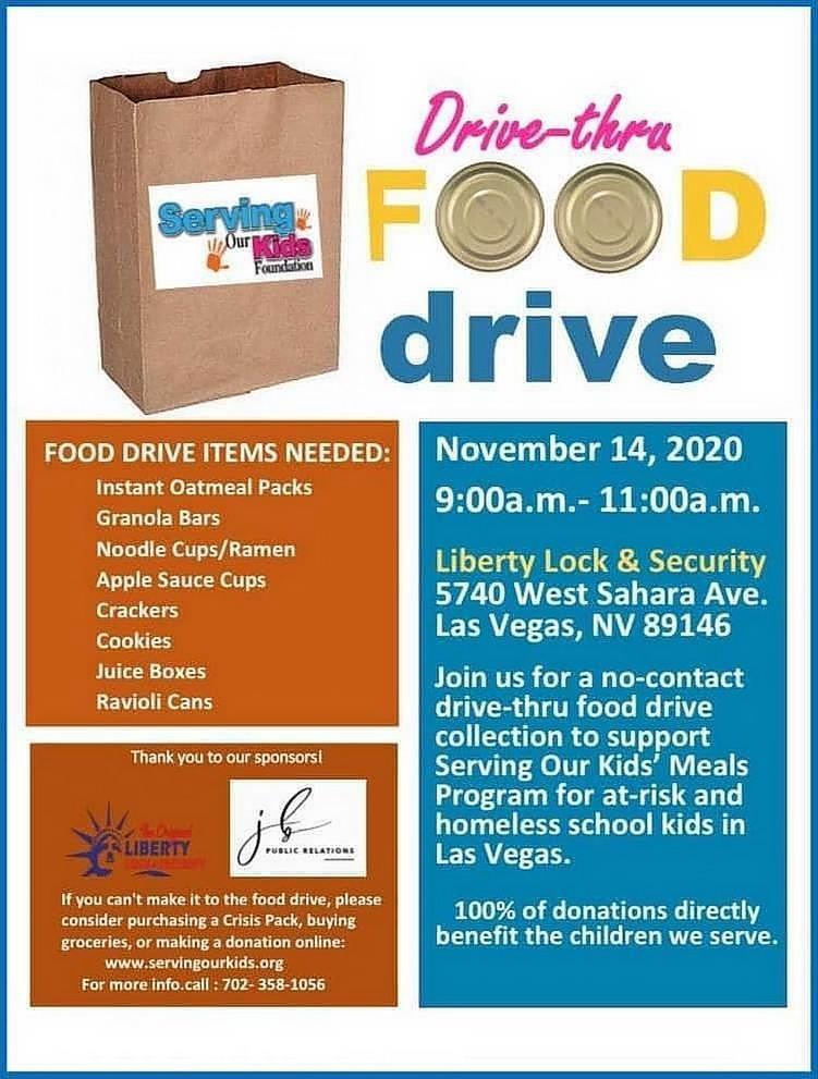Serving our Kids Foundation Hosting Virtual and  Drive-Thru Food Drive Nov. 14