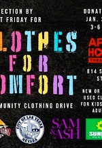 The Public Is Invited to Donate New or Gently Used Clothes Collection by First Friday for Clothes for Comfort on Jan. 29th Feb.