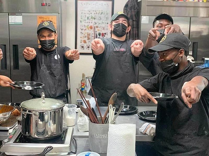 Raiders Player Johnathan Abram, Clark County Commissioner William McCurdy II and NLV Firefighters Visit the Chef Jeff Henderson Project