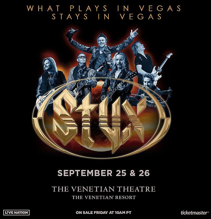 Styx to Return to the Venetian Resort Las Vegas September 25 & 26, 2021