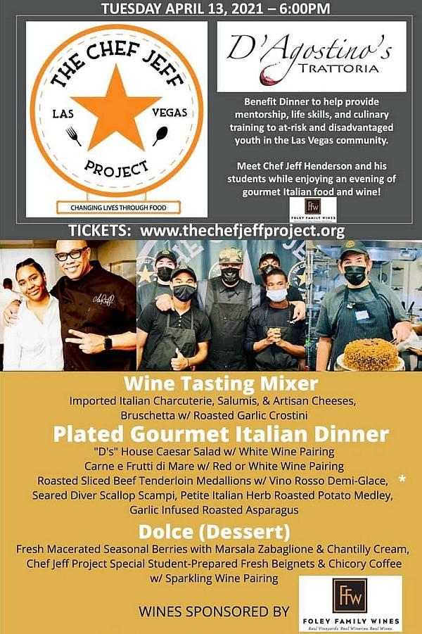 Chef Jeff Project Fundraiser Dinner & Wine Pairing at D'Agostino's Trattoria April 13