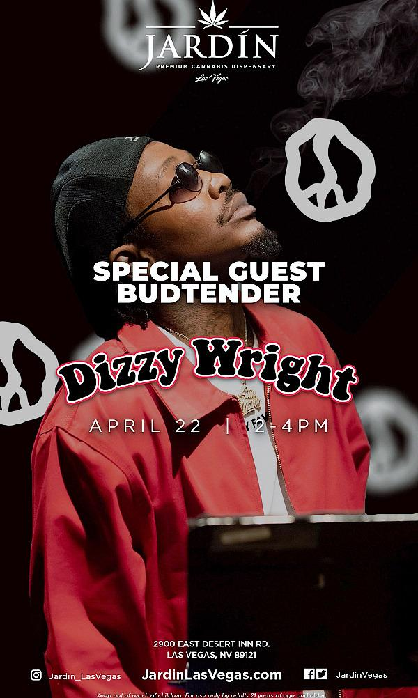 Jardin Premium Cannabis Dispensary Kicks Off Special Guest Budtender Series with Rapper Dizzy Wright, Thurs., April 22