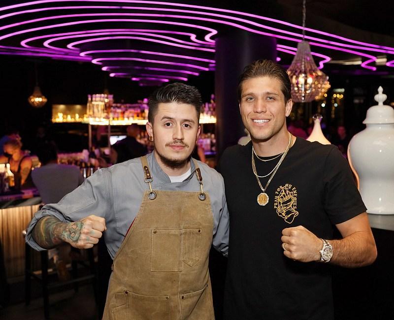 Brian Ortega poses for a photo with JING Las Vegas Sous Chef Corey Freeman (photo credit: Treston Southwick)