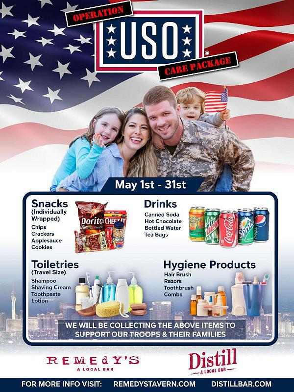 Donations Needed for the Return of Operation: USO Care Package Drive at Distill and Remedy's All May Long