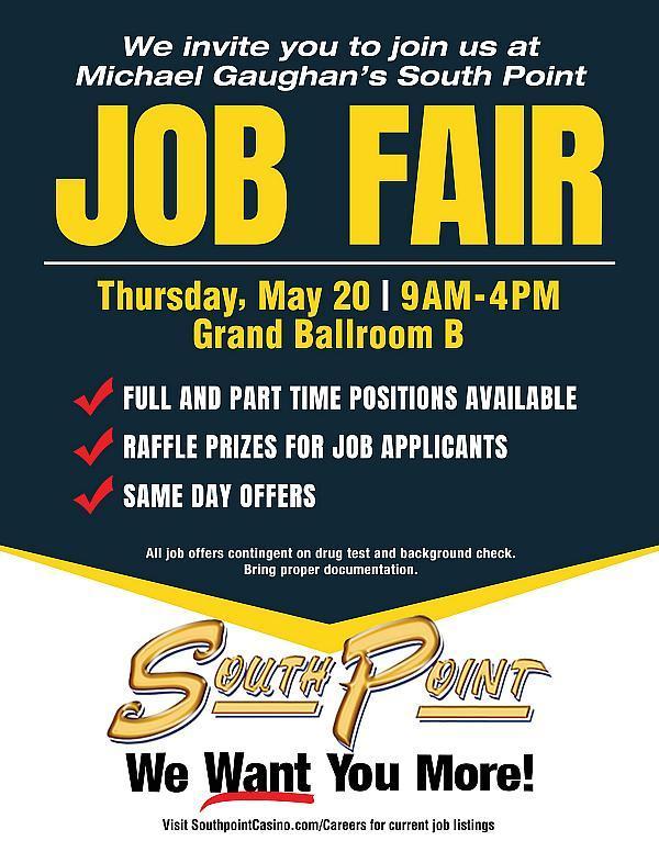 South Point Hotel, Casino & Spa Hosts Job Fair, May 20