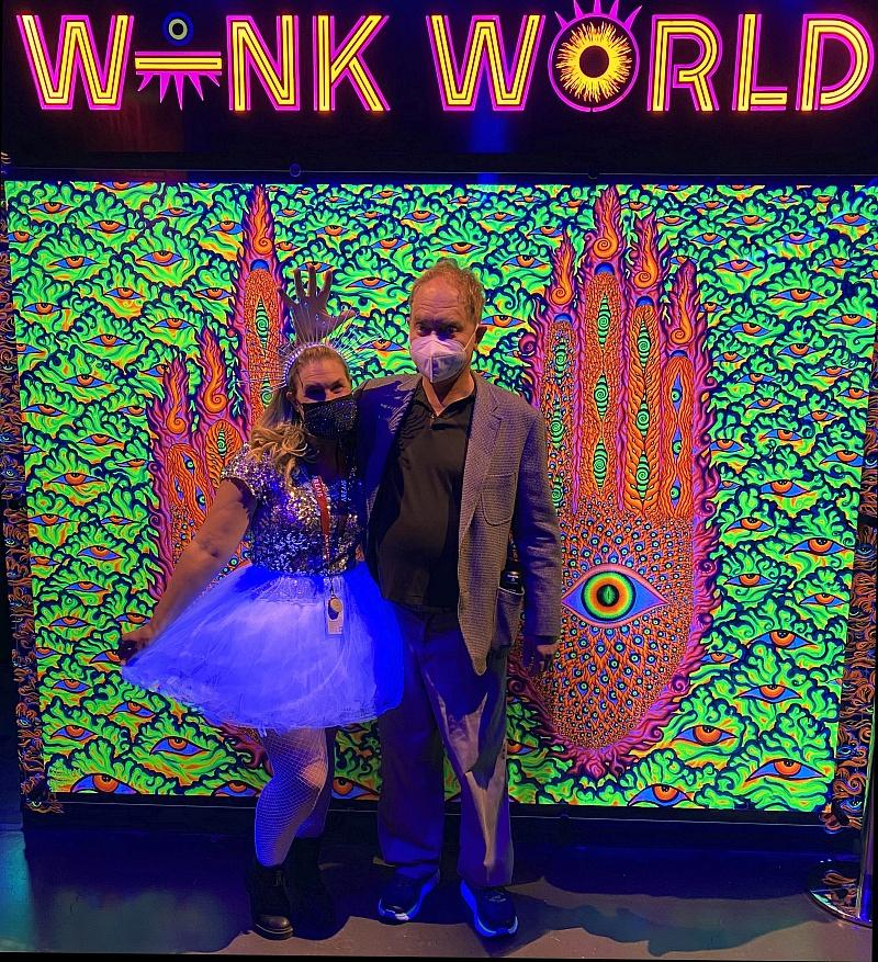 Teller poses for a photo inside Wink World. (photo credit: Ava Rose Agency)