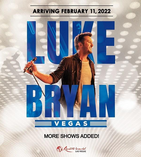 Luke Bryan Adds Three More Dates to February 2022 Headliner Engagement at the Theatre at Resorts World Las Vegas