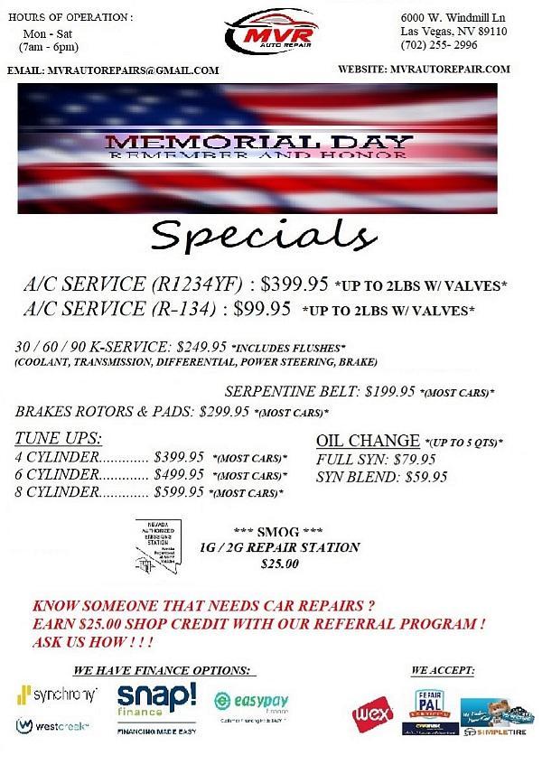 MVR Auto Repair  Memorial Day Specials