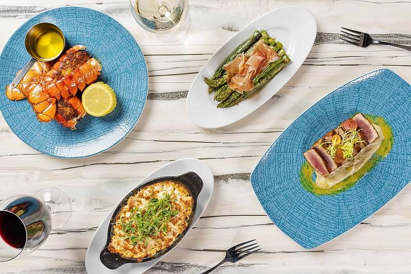 Stuffed Roasted Lobster Tail, Asparagus and Prosciutto, Baked Street Corn, Seared Ahi Tuna - Photo credit: Anthony Mair