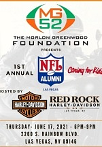 Announcing MG52 1st Annual NFL Alumni Las Vegas Caring for Kids Fundraiser Supporting the 4th Annual MG52 Free Youth Football Camp