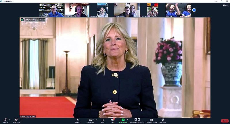 First Lady Dr. Jill Biden Surprises Pediatric Cancer Families from Tyler Robinson Foundation and the Tom Coughlin Jay Fund Foundation at Virtual Family Trivia Night