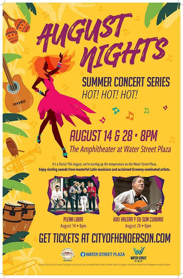 City of Henderson Presents August Nights Summer Concert Series Featuring Grammy-Nominated Latin Artists