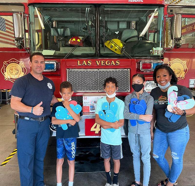 People donate flip-flops to Las Vegas Fire Department Drop Off Point