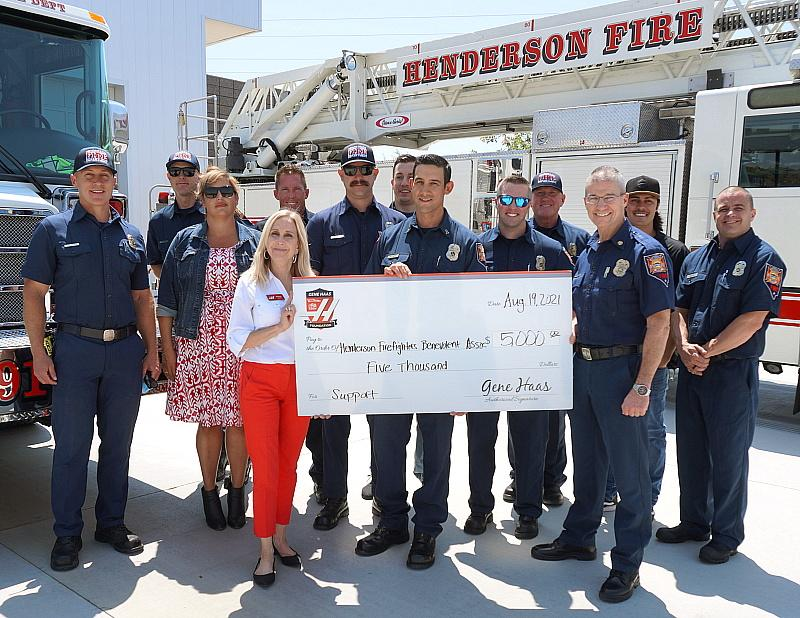 Gene Haas Foundation Donates $5,000 to Henderson Firefighters at West Henderson Fire Station
