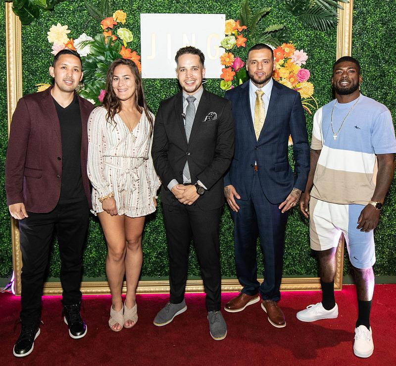 Daniel Rodriguez, Jessica Eye and Trevin Jonespose for a photo with management in front of JING Las Vegas (photo credit: JING Las Vegas)