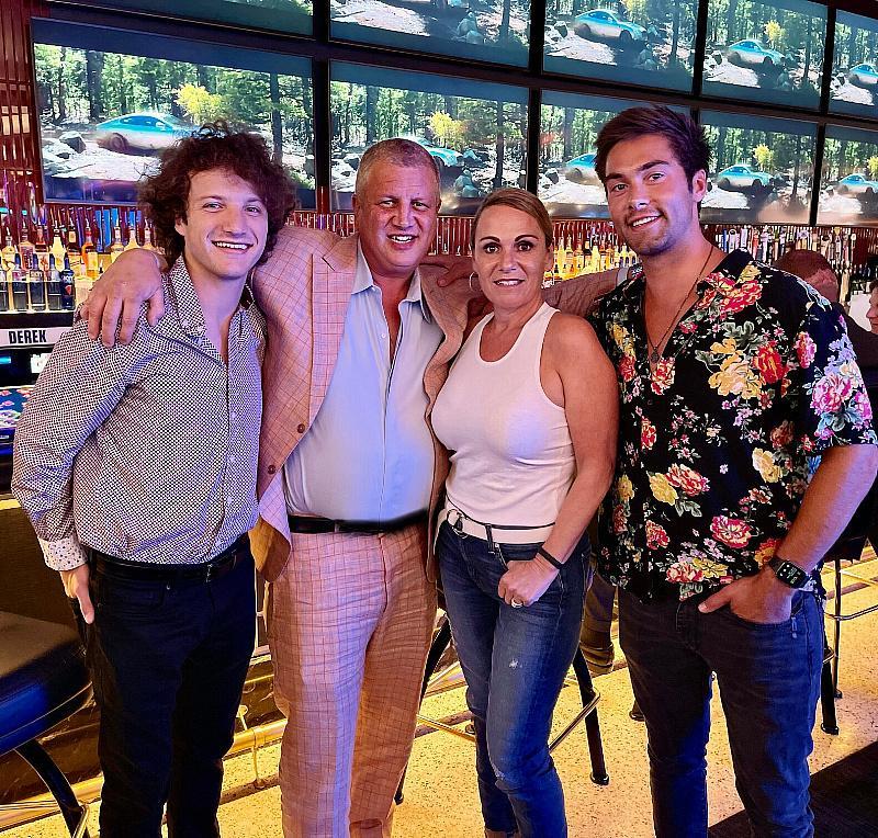 Jake Short with Casino Owner Derek Stevens, his Wife Nicole and Austin North inside Circa Las Vegas at Mega Bar