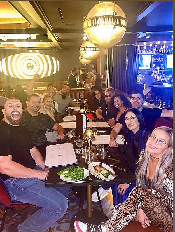 WWE celebrity dinner with stars Sonya Deville, Liv Morgan, Dana Brooke, Mojo Rawley and friends inside Barry's Downtown Prime