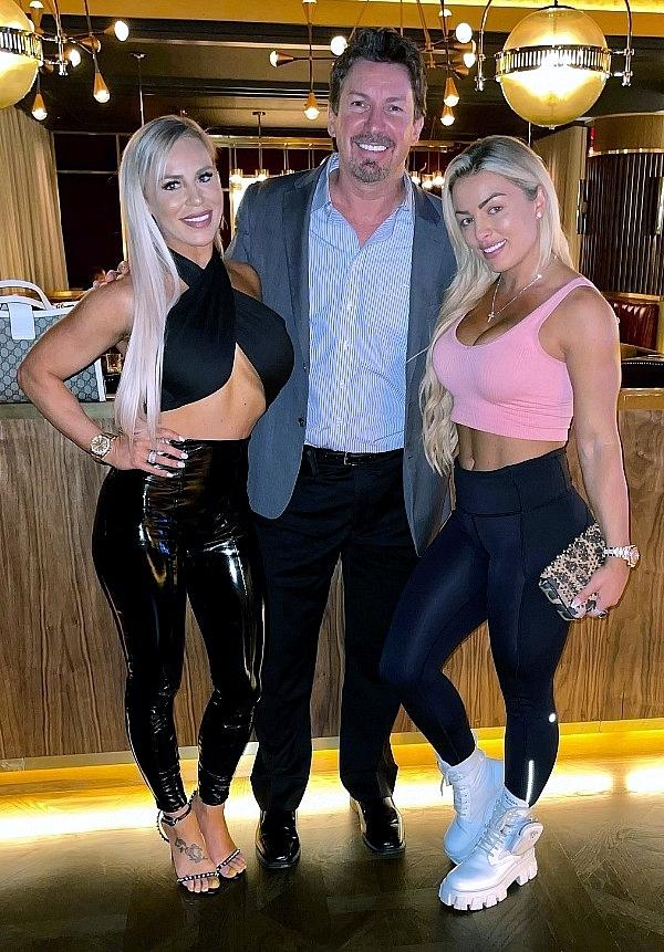 WWE star Dana Brooke and Mandy Rose dine with Circa Executive Richard Wilk at Barry's Downtown Prime