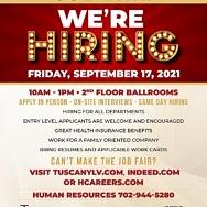 Job Fairs at Tuscan Suites & Casinos, Sept. 17