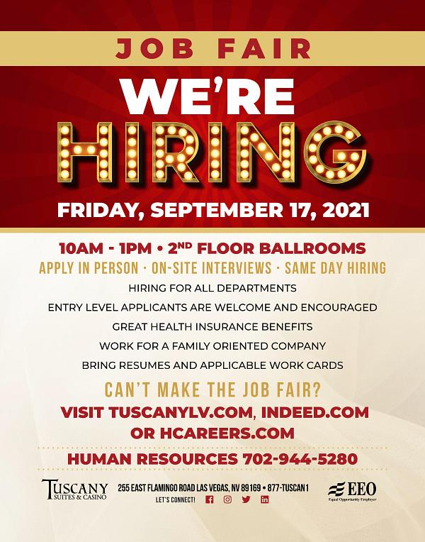 Job Fairs at Tuscany Suites & Casinos, Sept. 17