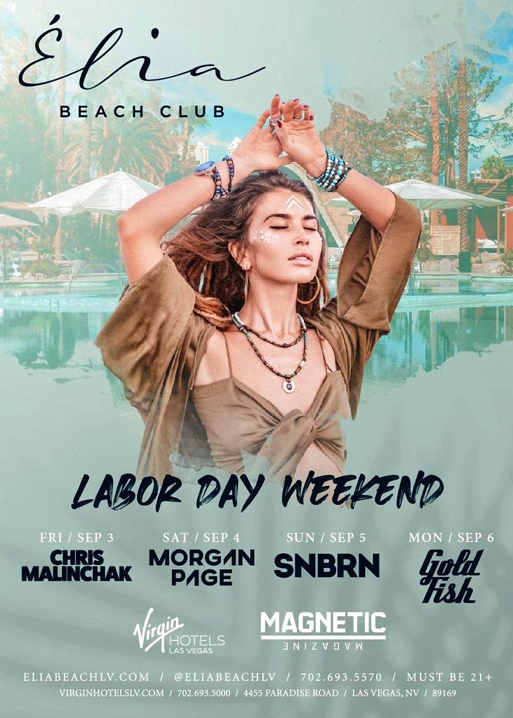 Élia Beach Club at Virgin Hotels Las Vegas Unveils Lineup of Notable EDM DJs for Labor Day Weekend Celebrations