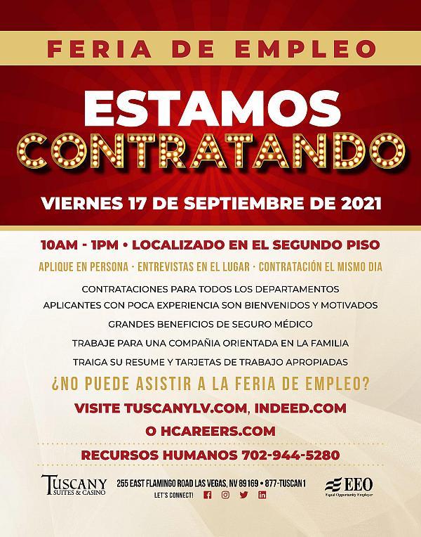 Ferias de empleo en Tuscany Suites & Casinos, 17 de septiembre