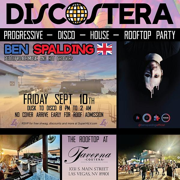 DISCOSTERA: Rooftop Party ft. Ben Spalding (from UK) Friday September 10th