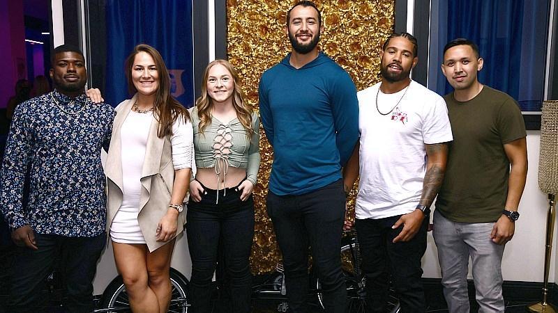 Trevin Jones, Jessica Eye, Kay Hansen, Dominick Reyes, Marcelo Rojo and Julian Griego pose for a photo. (Photo credit: DDWPIX)