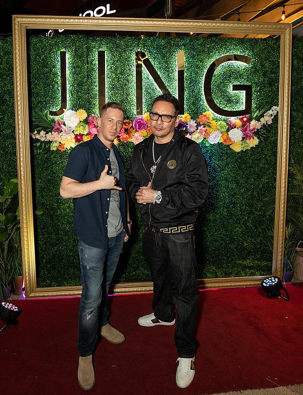 Michael Schwartz poses for a photo with DJ Kyd Wicked outside of JING Las Vegas (photo credit: Juan Macias)