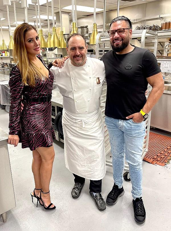 Bollywood Actress/Model Nargis Fakhri and Entrepreneur Jas Mathur, Meet Up with WWE Wrestlers, Titus O'Neil and Omos, at Barry's Downtown Prime