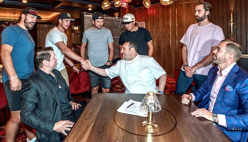 Chef Barry Dakake with co-owners Marco Cicione and Yassine Lyoubi and Vegas Golden Knights at Barry's Prime Las Vegas