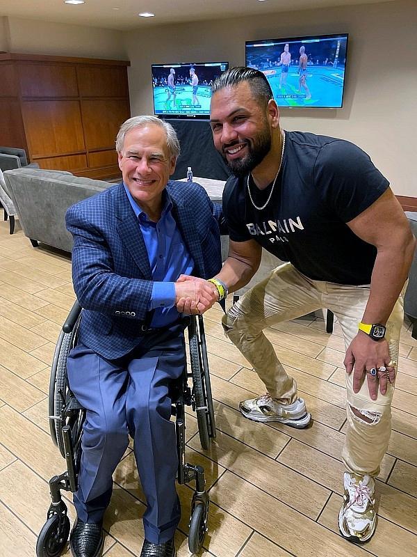 Jas Mathur meeting Texas Governor Greg Abbott in Houston at UFC 265