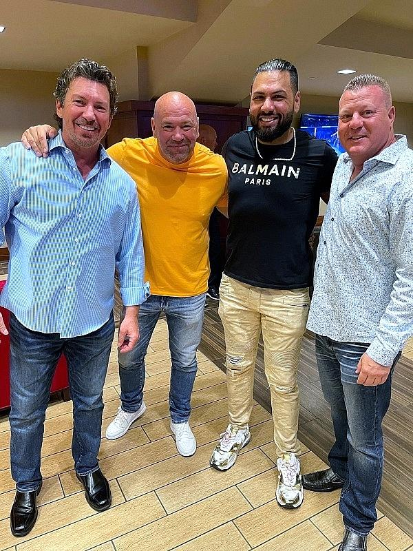 Jas Mathur backstage with UFC President Dana White and Circa Resort executive Richard Wilk in Houston for UFC 265