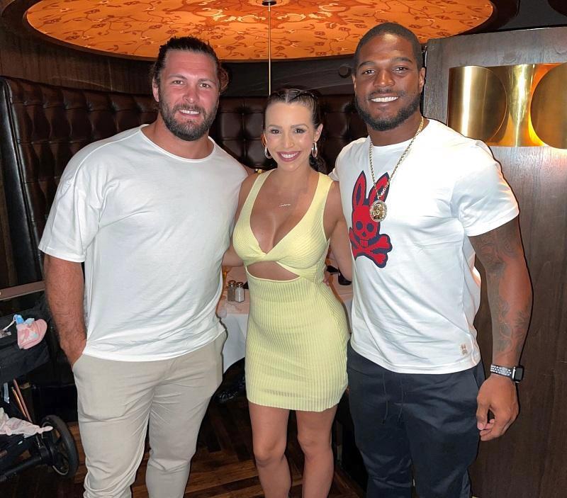 """Vanderderpump Rules"" star Scheana Shay and Brock Davies with Raiders Linebacker Denzel Perryman at Andiamo Italian Steakhouse in Las Vegas"