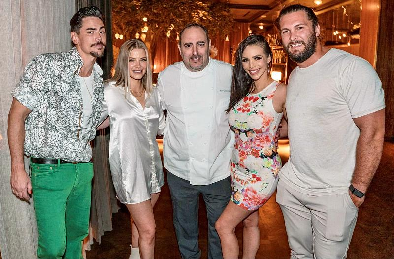 """Vanderpump Rules"" cast Tom Sandoval, Ariana Madix, Chef Barry Dakake, Scheana Shay and Brock Davies at Barrys Prime Las Vegas"