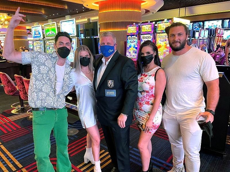 """Vanderpump Rules"" Tom Sandoval, Ariana Madix, Scheana Shay, Brock Davies, and Circa Resort Owner Derek Stevens (C) Las Vegas"