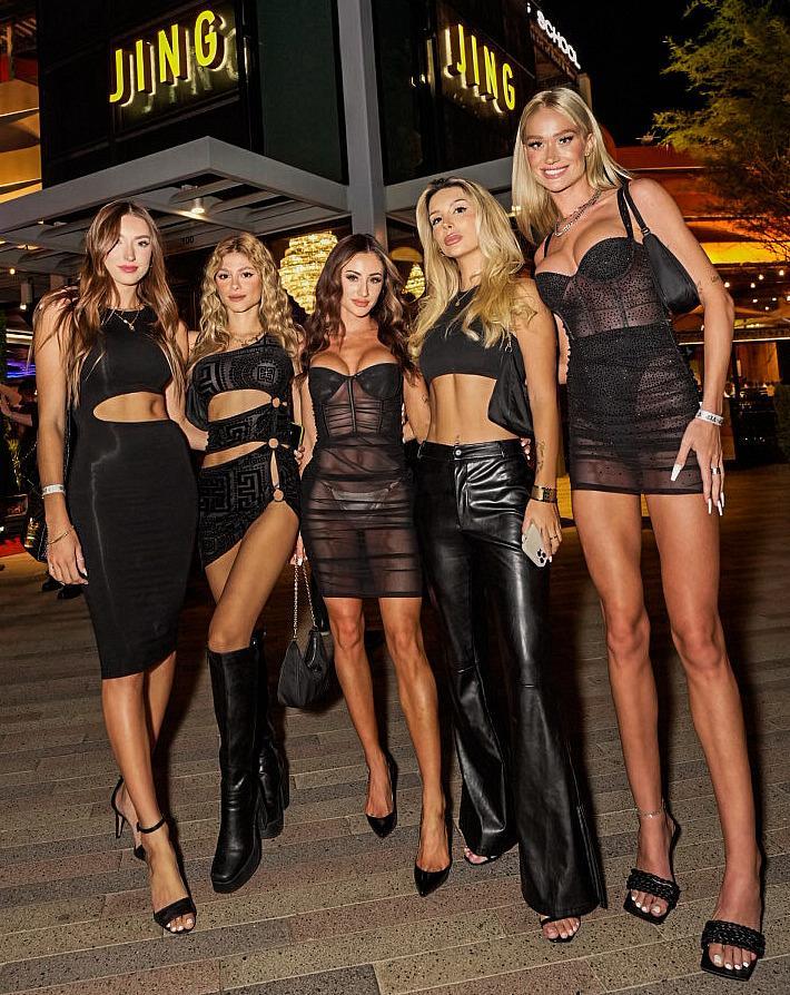 Dan Bilzerian's IGNITE models pose outside JING Las Vegas in Summerlin. (Photo credit: Carlos Macias)