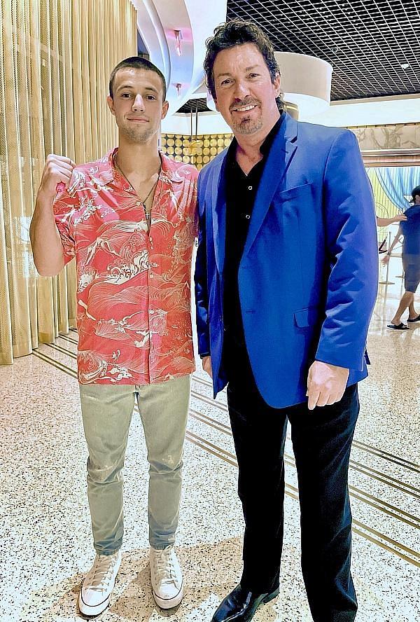 Actor Cameron Dallas with Circa Resort Executive Richard Wilk in Las Vegas